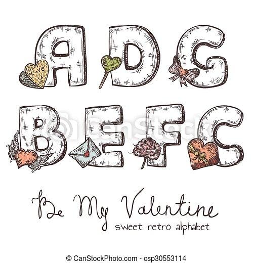 Abc Xmas Vector Retro Christmas Alphabet With Symbols Of Holiday