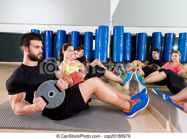 Abdominal plate training core group at gym - csp20188979
