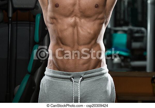 abdominal, rasgado, cima fim, músculo, osso - csp20309424