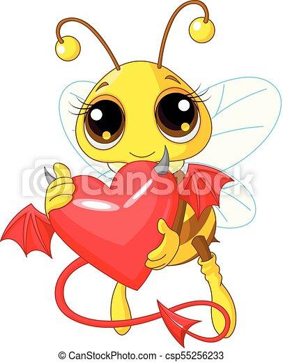 abeille, coeur, diable, tenue, mignon - csp55256233
