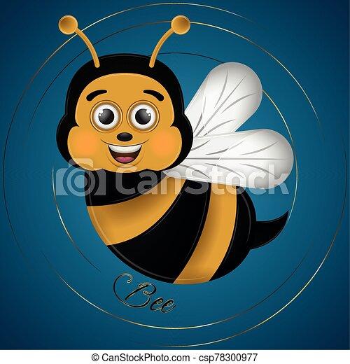 abeja, caricatura, lindo, feliz - csp78300977