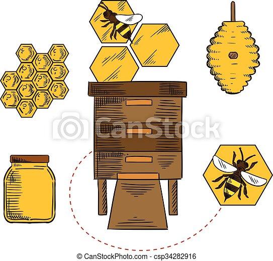 abejas apicultura objetos colmenas vector