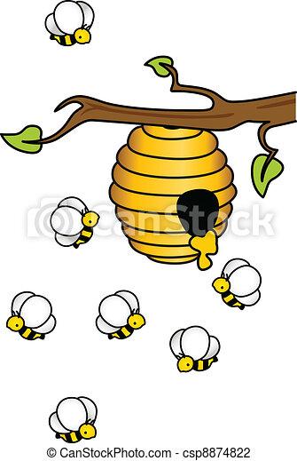 abejas colmena vector