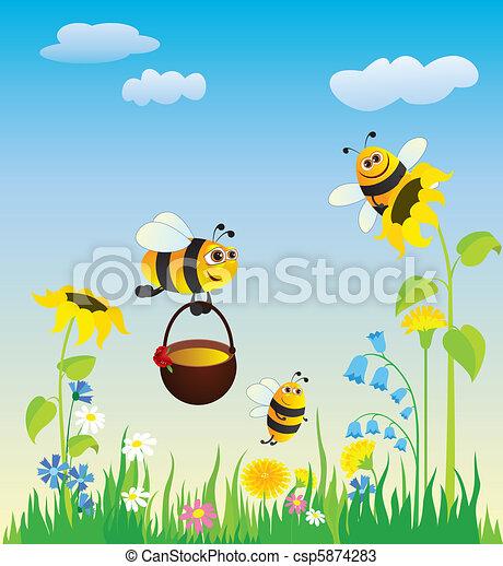Meadow y abejas - csp5874283