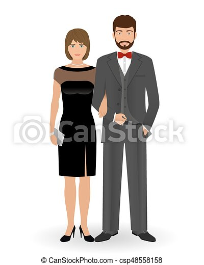 Abend, cocktail, paar, offiziell, clothes., elegant,... Clipart ...