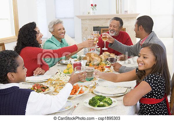 abendessen, alles zusammen, familie weihnachten - csp1895303