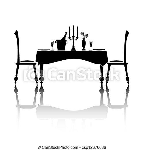 Gedeckter tisch gezeichnet  EPS Vektorbild von gedeckter tisch , romantische - platte ...