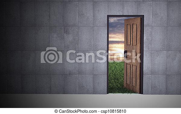 abertos, vida, porta, novo - csp10815810