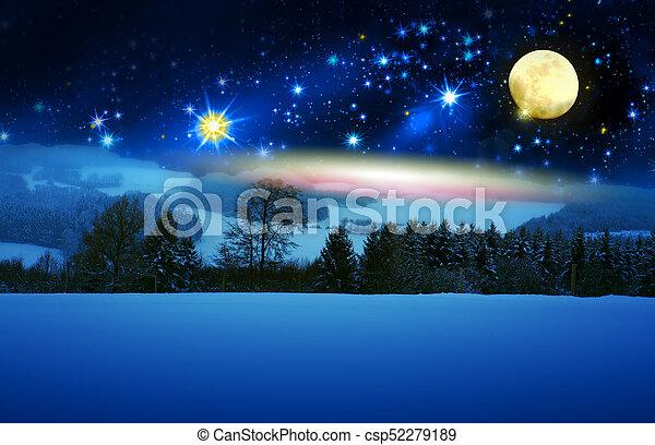 abete, pieno, moon., neve, albero, fondo, coperto, natale - csp52279189