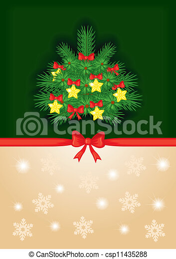 En el fondo con un árbol decorado - csp11435288