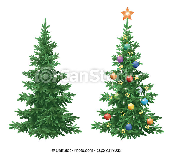 abeto, asseado, ornamentos, árvores, natal - csp22019033