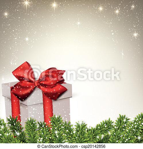 Antecedentes navideños con la caja de regalos de las ramas de abeto. - csp20142856