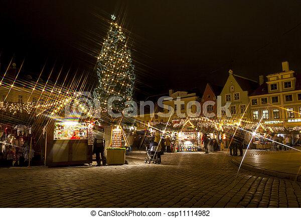 abeto, cidade, snowless, antigas, ao redor, estónia, árvore, tallinn, natal, mercado - csp11114982