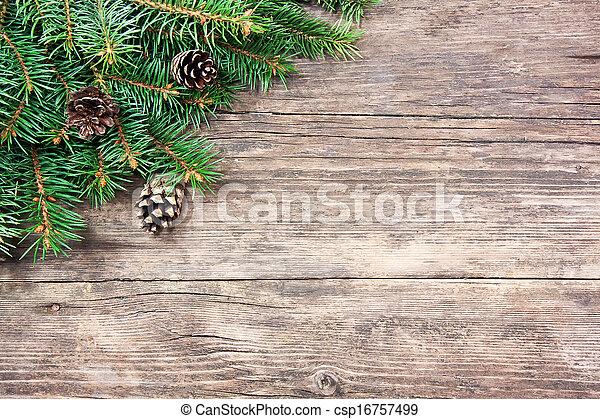 abeto, madeira, árvore, natal, fundo - csp16757499
