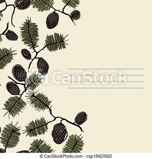 abeto, texto, quadro, ramo, cone - csp18423562