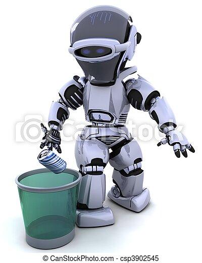 abfall, roboter, buechse - csp3902545