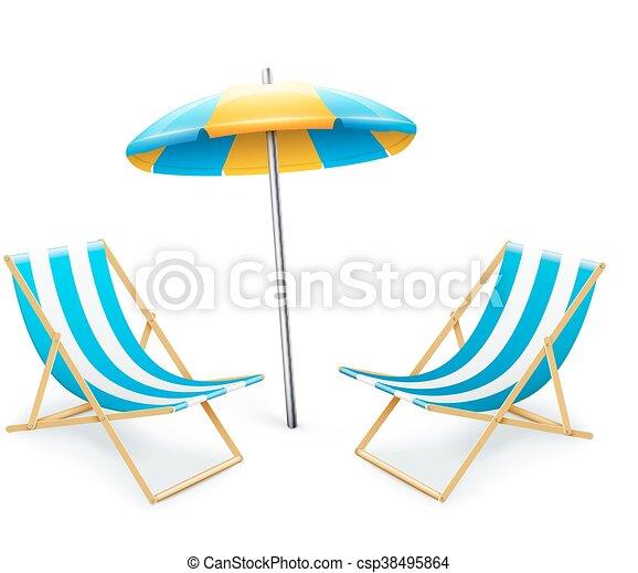 Liegestuhl mit sonnenschirm strand  Abgestreift, sonnenschirm, inventar, liegestuhl. Schirm, liegestuhl ...