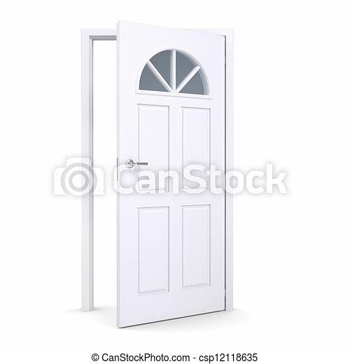 Puerta blanca abierta - csp12118635