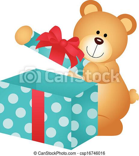 Clip art vectorial de abierto de cuadro oso regalo teddy