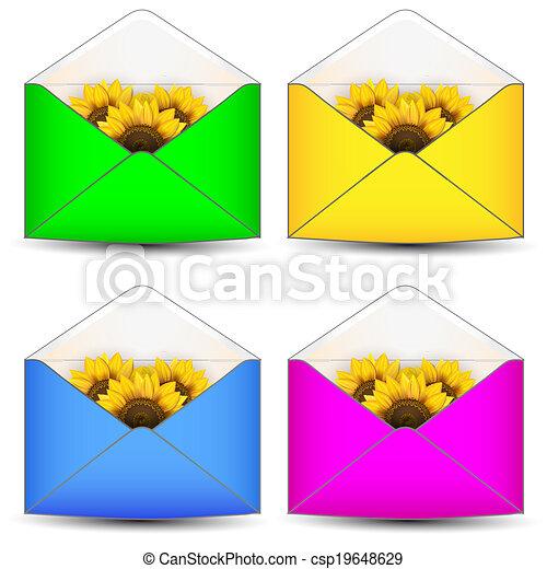 Abre sobre con flores - csp19648629