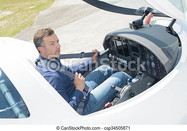 abitacolo, verso il basso, pilota, vista - csp34505871