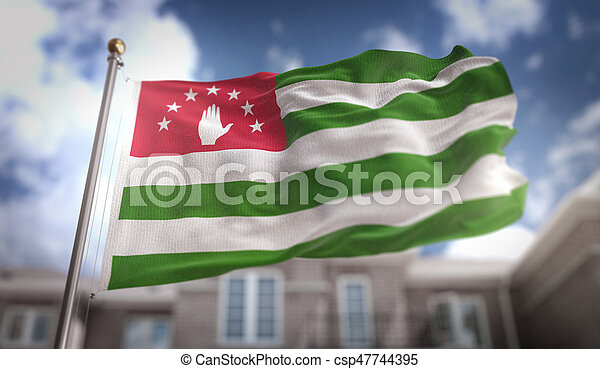 Abkhazia Flag 3D Rendering on Blue Sky Building Background - csp47744395