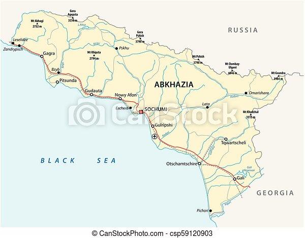 Abkhazia road vector map - csp59120903