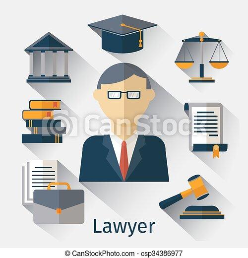 Abogado de vectores, abogado o jurist fondo conceptual - csp34386977