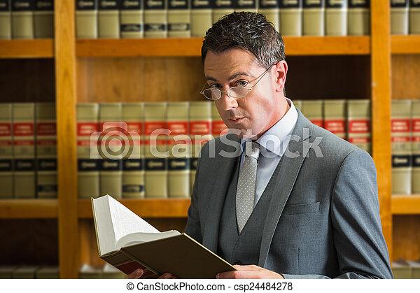 abogado, libro de lectura, biblioteca, ley - csp24484278