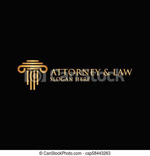 Abstracto abogado de pilares logotipo vector de plantilla - csp58443263
