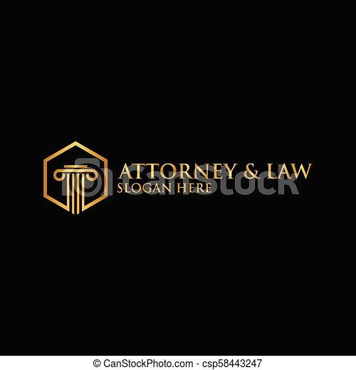 Abstracto abogado de pilares logotipo vector de plantilla - csp58443247