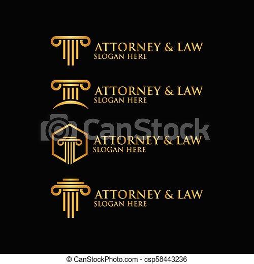Abstracto abogado de pilares logotipo vector de plantilla - csp58443236