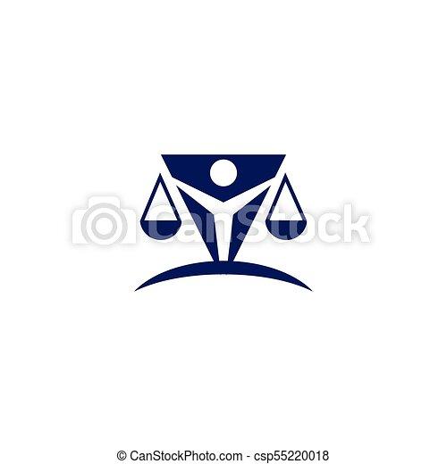 Abogado en el logotipo de la ley y vector de plantilla de icono - csp55220018