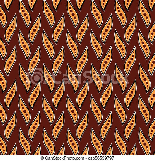 Aboriginal Dot Art Background With Leaves Vector Illustration