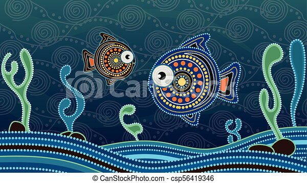 Aboriginal Dot Art Painting With Fish Underwater Concept Landscape