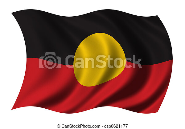 Aboriginal Flag Waving In The Wind Clipping Path Included