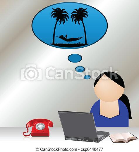 aborrecido, trabalhador - csp6448477