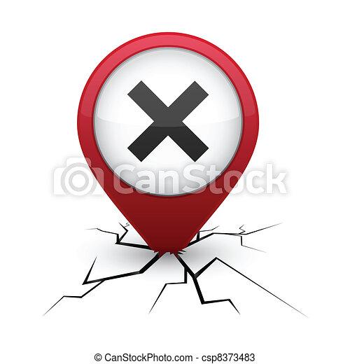 Abort red icon in crack. - csp8373483