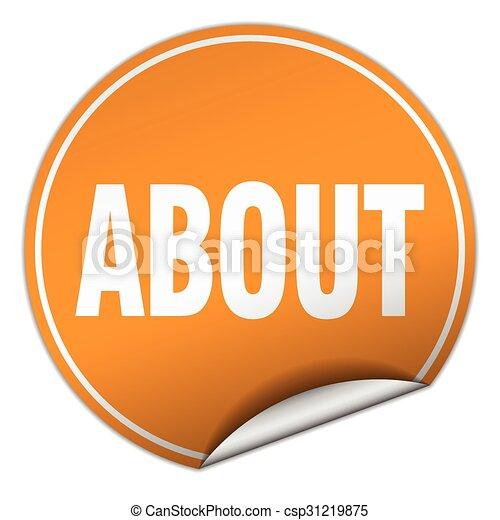 about round orange sticker isolated on white - csp31219875