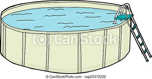 Above Ground Pool With Water Single Cartoon Above Ground