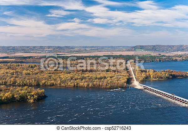 Above Mississippi River and Dam at Alma - csp52716243