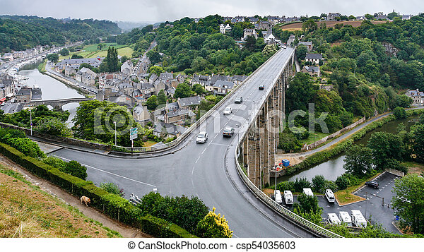 Above View Of Dinan City From Jardin Anglais Travel To France