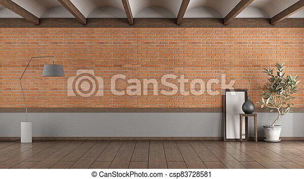 abovedado, pared, habitación, vacío, techo, ladrillo - csp83728581