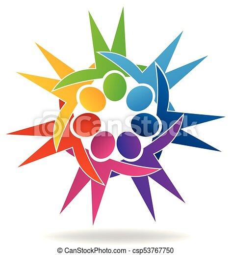 Abraco Coloridos Pessoas Trabalho Equipe Logotipo Icon