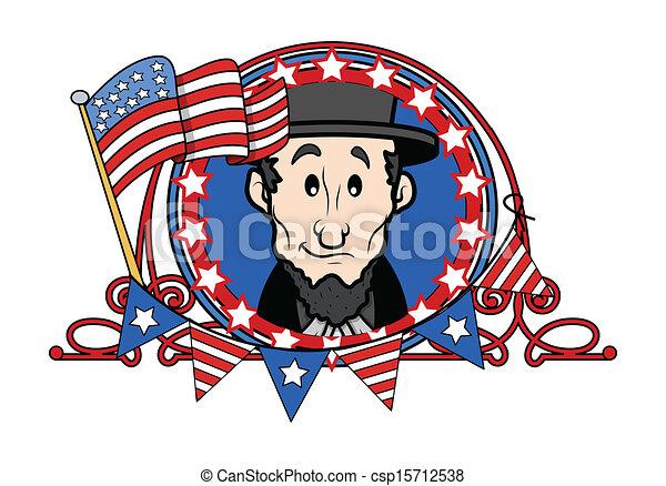 Abraham Lincoln Cartoon Vector Illustration