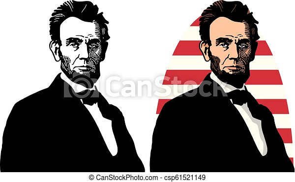 An Illustrated Portrait Of Abraham Lincoln The 16th President Of