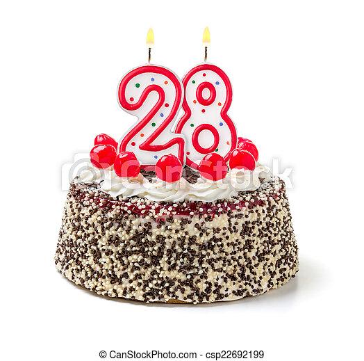 abrasador, 28, número, torta de cumpleaños, vela - csp22692199