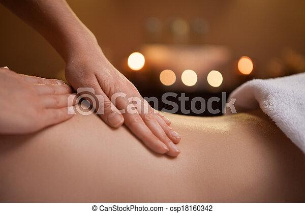 abrasador, velas, mano, back., apacible, fregadero, plano de fondo, niña, masaje - csp18160342