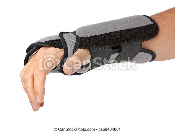 Mano humana con un aparato ortopédico sobre blanco - csp9404801