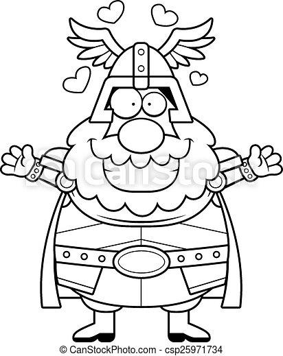 Abrazo Caricatura Thor Elasticidad Hug Ilustración Thor